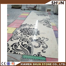 Well polished rectangle waterjet inlay for sweet home entrance design, marble medallion waterjet marble pattern for flooring