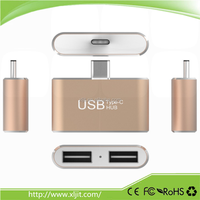 Aluminum Dual 2 Port USB 2.0 Type c USB 3.1 Hub for MacBook