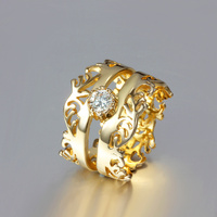 18KR016 Factory wholesale High quality Beautiful 24k gild gorgeous stone set Diamond men women gold rings