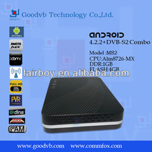 DVB S2 android tv box with aml8726-mx biss+cccam/newcam Network sharing