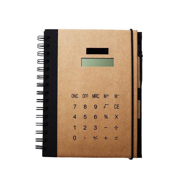 Kraft Paper Custom Design Print Notebook Calculator with Ballpen