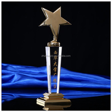 Yiwu supplier crystal crafts Optical high quality k9 3d laser crystal star trophy