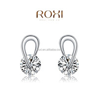 2015 ROXI Hotseling Factory Cheaper AAA Zircon Stud Earrrings Jewelry fashion White Gold Crystals jewelry accessories Shenzhen