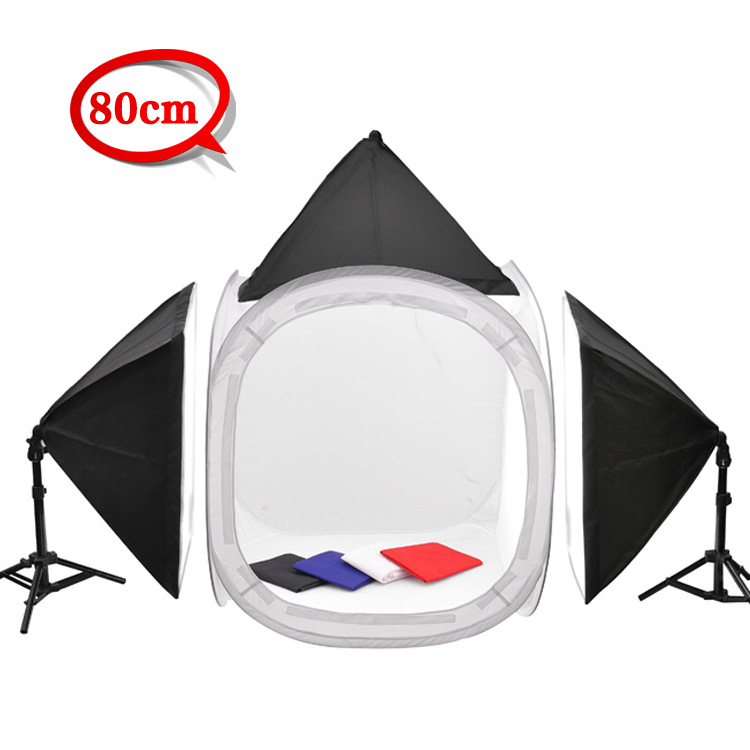 New Photo Studio 80 X 80 X 80CM Shooting light Soft Box Cube Tent 4 Backdrop