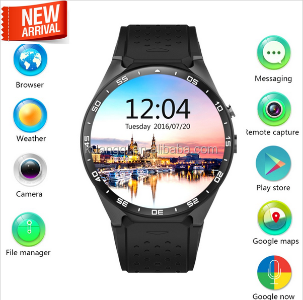 2016 Lemfo KW88 MTK6580 Android 5.1 OS Smart Watch Phone 400*400 Screen quad core smartwatch Support SIM pedometer heart rate