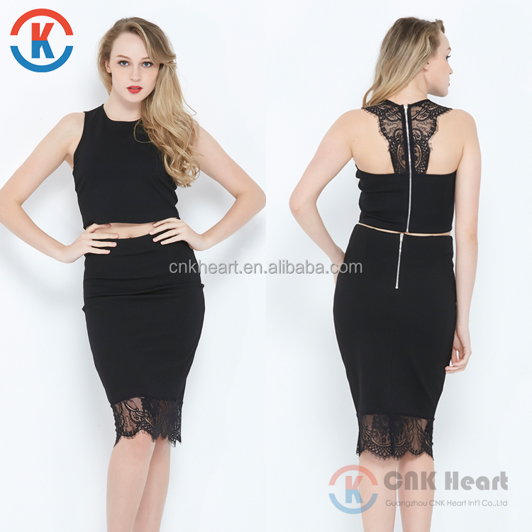 2017 western latest women sexy lace top black two piece pencil dress