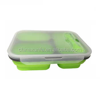 High Quality Silicone Microwaveable 3 Compartment Take Out Chinese Food Container For Sale Multi Compartment Food Container