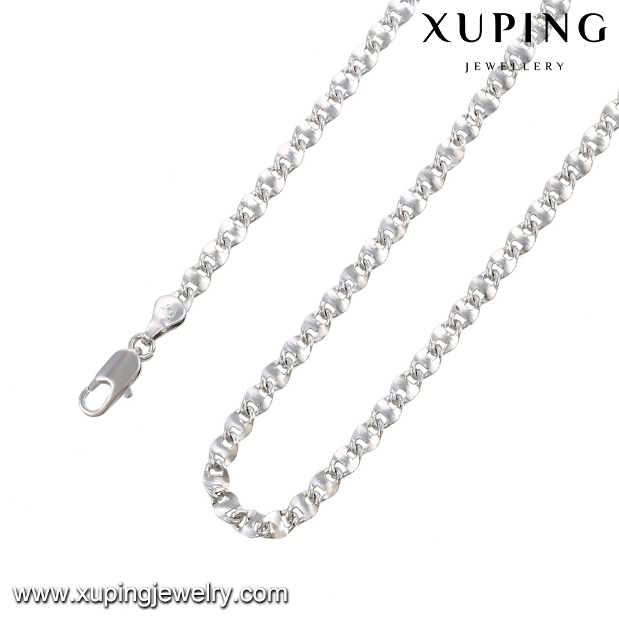 43034 XUPING artificial chain necklace Environmental Copper material, Wide chain silver color simple necklace