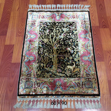 2x3ft persian tree of life handknotted silk persian hand made Turkish prayer carpet