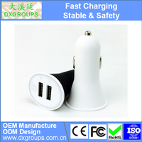 5V 2.1A Mini Horn 2 Port Dual USB Car Charger Adapter For iPad For iPhone For Samsung For Huawei