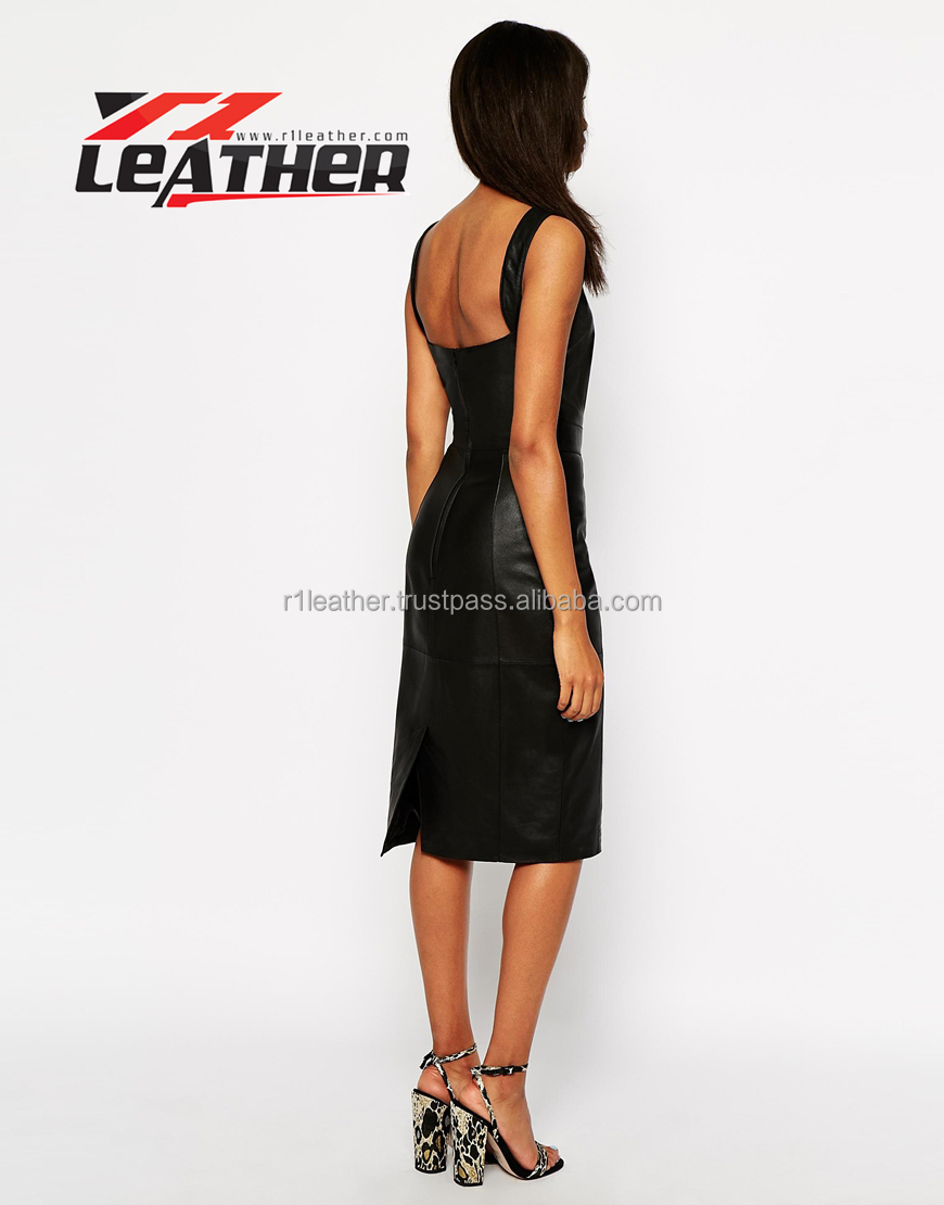 Fashion Ladies Black Leather Combined Women Dresses 2014 European