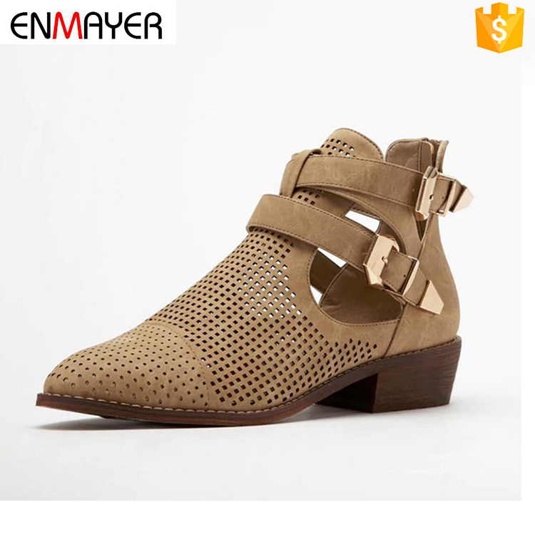 hollow out chuncky heel women shoes ladies women leather boots female flat sandals boots