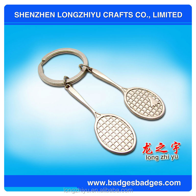 High Quality Tennis badminton Shape Metal Key Chain Parts Keychain Accessories