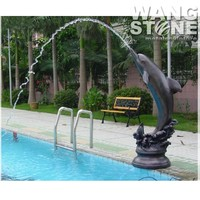Swimming Pool Sculpture Bronze Outdoor Dolphin Water Fountain