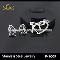 Wholesale Fashion Jewelry Heart & Bow with CZ Diamond Charms Necklace & Earrings Silver Jewelry