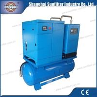 10hp 7.5kw Combined Screw Air Compressor for 75 kw 100 hp belt driven
