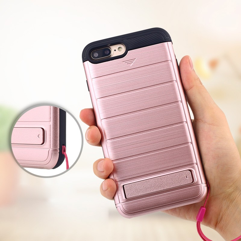 LZB New Arrival TPU PC 2 in 1 Hybrid Brushed Finish Phone Case for iPhone 7 Plus with card slot