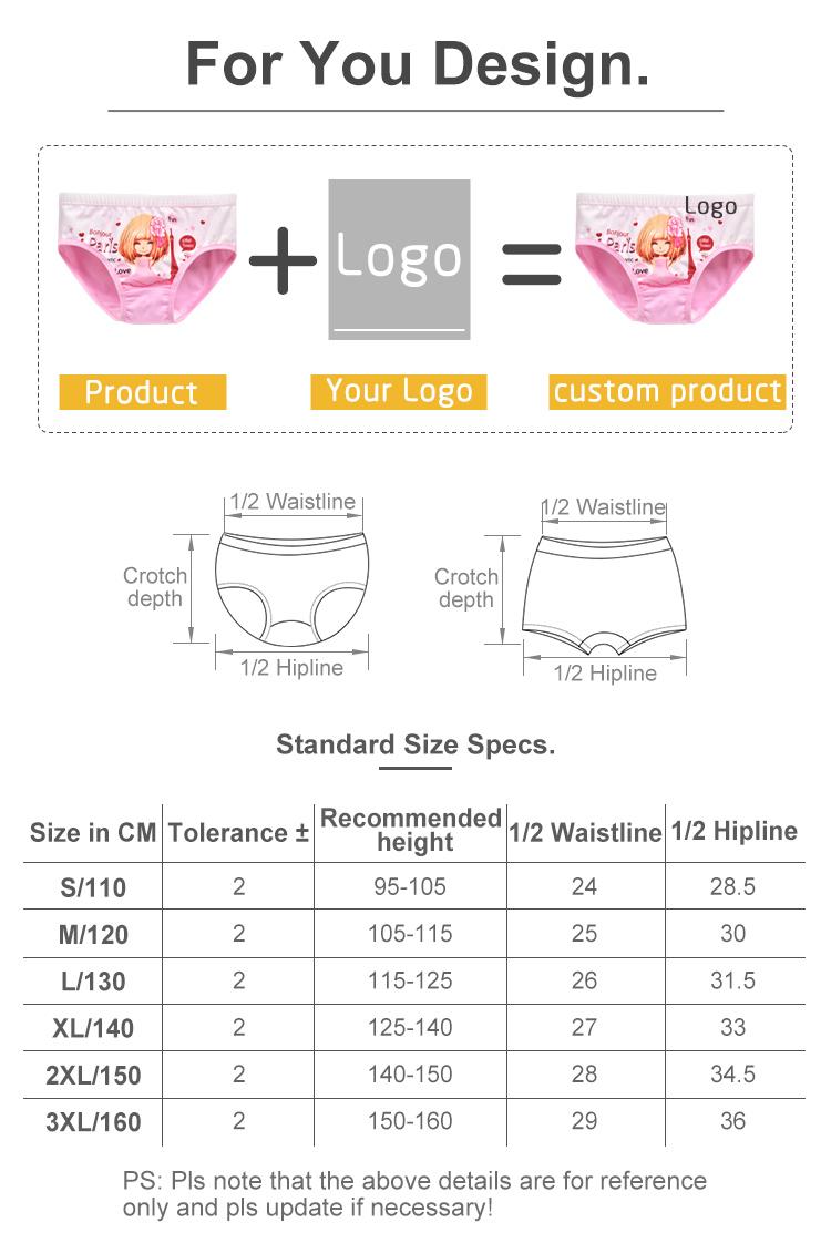 OEM Wholesale Girls Cute Cartoon Printed Boxer Brief Underwear