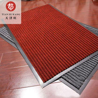 Indoor Ribbed Double Stripe Carpet Door Mat With PVC Backing