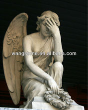 Wholesale soap stone carving sitting angel statue