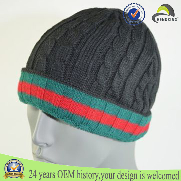 Printed acrylic knit skull men knitted winter cap
