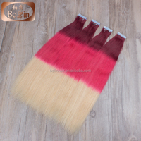 double drawn top quality silky straight ombre pink african american human tape hair extensions