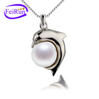 Animal culture shaped pearl pendant 9mm dolphin pearl pendant necklace sterling