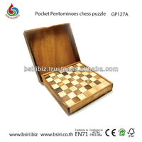 Classic IQ Pocket Pentomino chess Puzzle Brain Teaser Wooden Puzzle Game