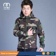 Hot sale cheap tactical woodland shark skin softshell jacket with hood