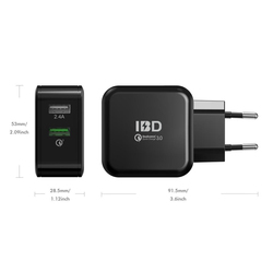 IBD Shen Zhen Dual Port 30W USB Charger AC Wall Charger/Travel Charger, QC3.0 + 2.4A with Qualcomm Quick Charge 3.0 Technology