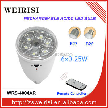 Emergency Rechargeable AC/DC SMD LED (5050) Bulb with Remote Controller E27/B22 (WRS-4004AR)