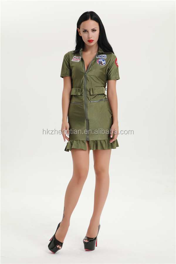 Adult Sexy Army Woman Camouflage Soldier Fancy Dress Up Costume