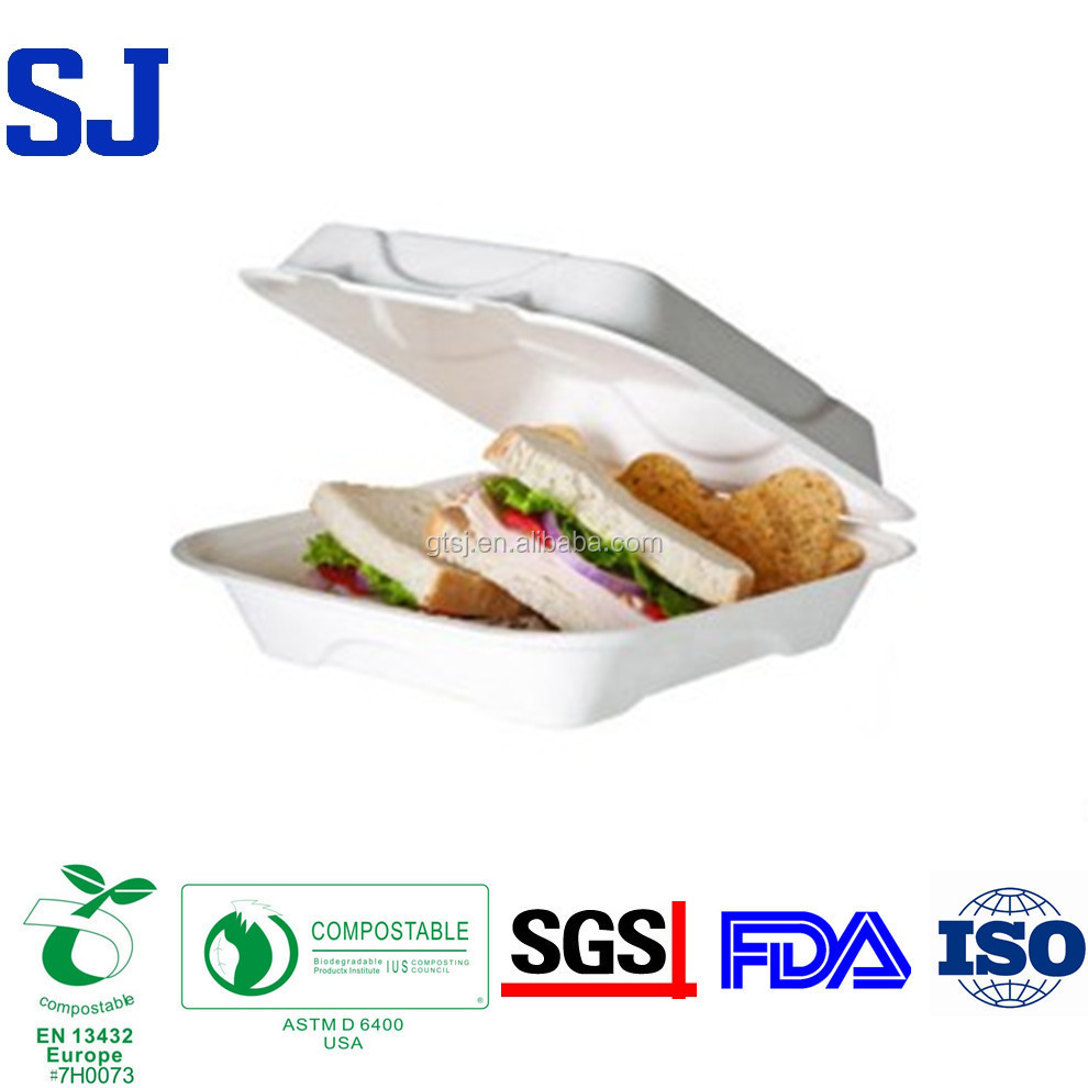 Eco Friendly Biodegradable Sugarcane Wheat Straw Food Grade Disposable Paper Pulp Sandwich Box