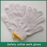 Hot sale cheap price white cotton working gloves bleached white cotton knitted gloves labor worker gloves