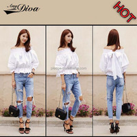 Hot sale latest jeans tops girls new model jeans pants high quality elegant korean style causal distressed ripped jeans women