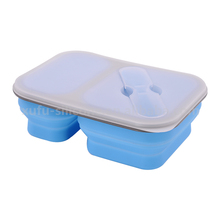 microwave safe collapsible food Container double Compartment Silicone lunch box bowl with spoon