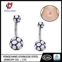 Wholesale price surgical steel body piercing jewelry flag navel acrylic football belly ring