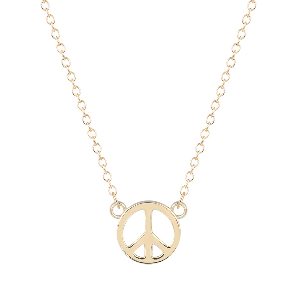 2016 Unique Simple Peace Sign Necklace for Women and Girls Fashion Gift Fashion Jewelry Silver Vintage Necklace