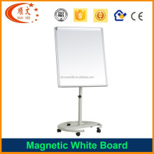 Mobile height adjustable magnetic white board with round base