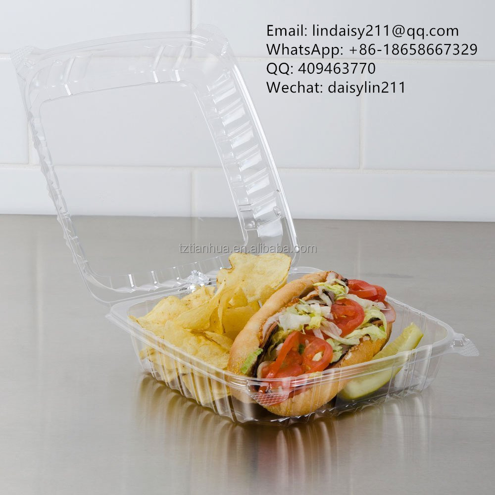 Plastic clamshell food/cake container, clear hinged lid