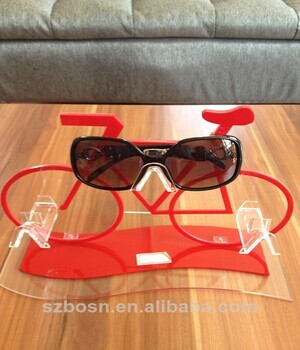 Colorful bicycle shapre good quality acrylic sunglasses display holder with sunglasses dispaly holder for sale