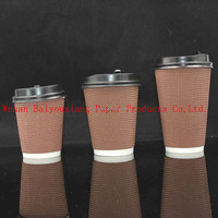 Custom Brand Printed 12oz ripple wall disposable coffee cup