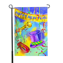 Wholesale 35x45 CM Happy New Year Gift 110D Knitted Polyester Custom Design Holiday Garden Flag