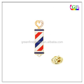 Gold fashion barber shop pole LAPEL PIN brooch