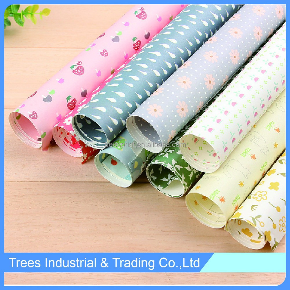 Cute colorful gift wrapping paper for book cover packaging