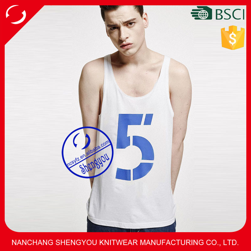 Custom wholesale polyester cotton mens printed stringer tank top