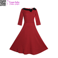 Evening Pencil Vestido Plus Size Vintage Slash Neck Bowknot Polka Dot Skater-dress