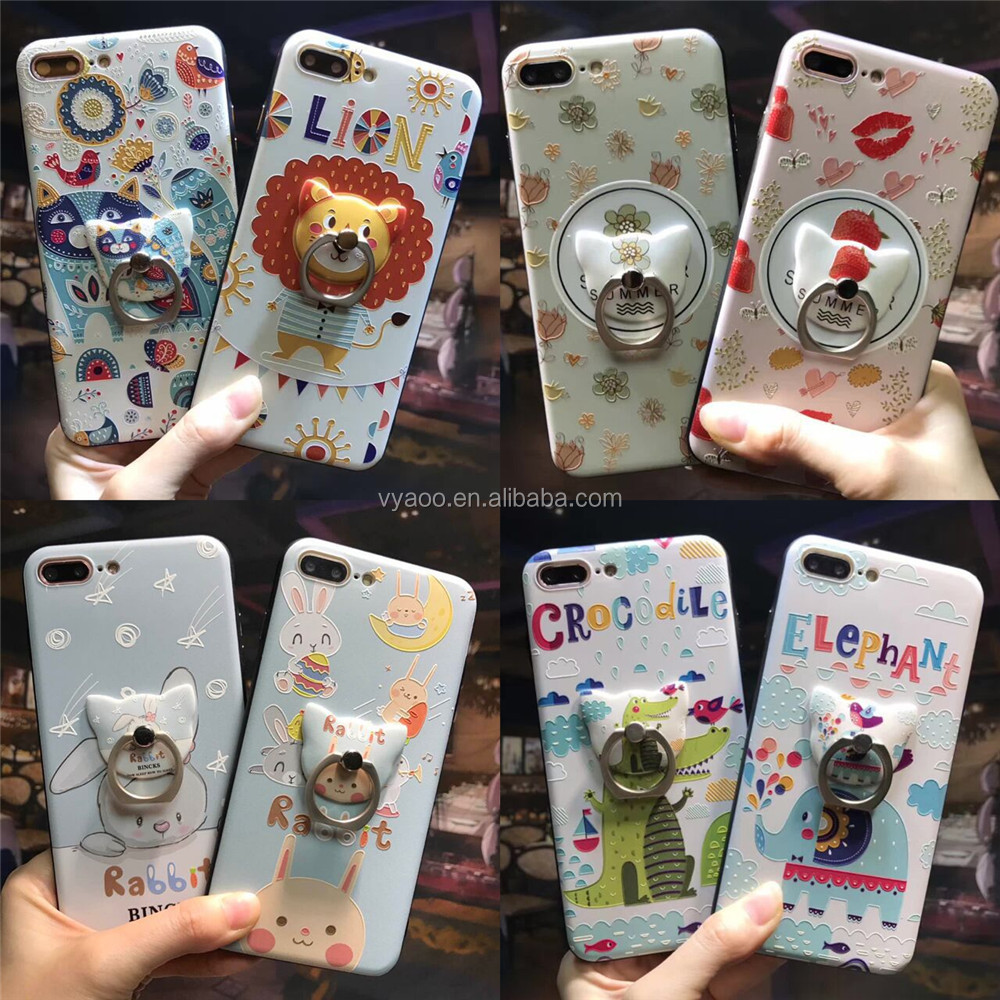 Hot selling Individuality Cartoon Phone Shell with a ring bracket and Lanyard Phone case