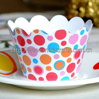 hot sale! high quality party decoration colorful greaseproof polka dot cupcake wrappers wedding table decorations