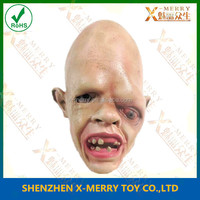 X-MERRY Big Head Horror Eyes Bald Old Man Mask Terror Halloween Mask Latex Mask
